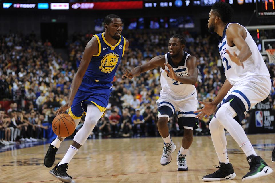 Kevin Durant will look to author an encore to his first NBA title and NBA Finals MVP trophy. (Getty)