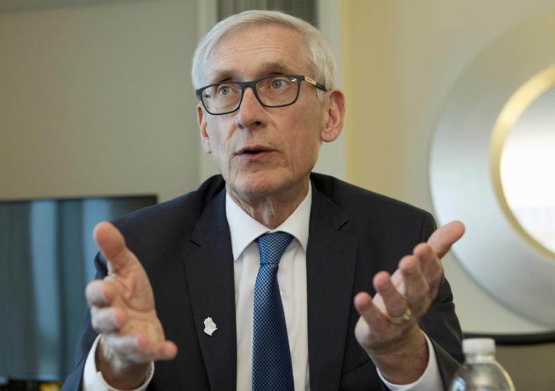 FILE - In this Feb. 23, 2019, file photo, Wisconsin Gov. Tony Evers speaks during an interview during the National Governors Association 2019 winter meeting in Washington. The National Guard's headquarters opened an investigation in the fall of 2019 into allegations that the Wisconsin National Guard's top commander improperly initiated an internal investigation in a sexual assault case even as he was under scrutiny for allegedly mishandling sexual assault complaints, Gov. Tony Evers' office said Tuesday, Jan. 7, 2020. (AP Photo/Jose Luis Magana, File)