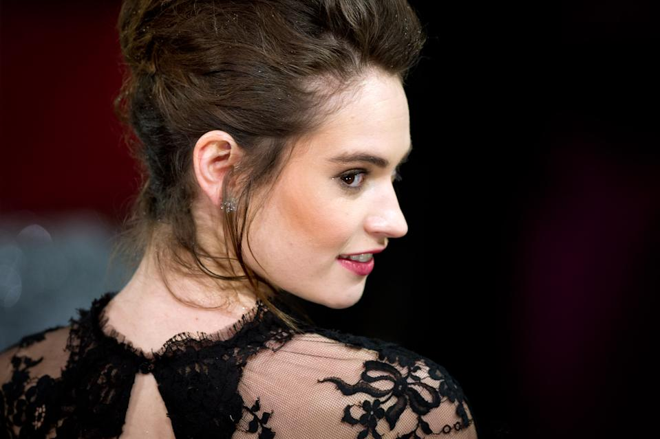 Lily James arriving for the 2013 British Academy Film Awards at the Royal Opera House, Bow Street, London