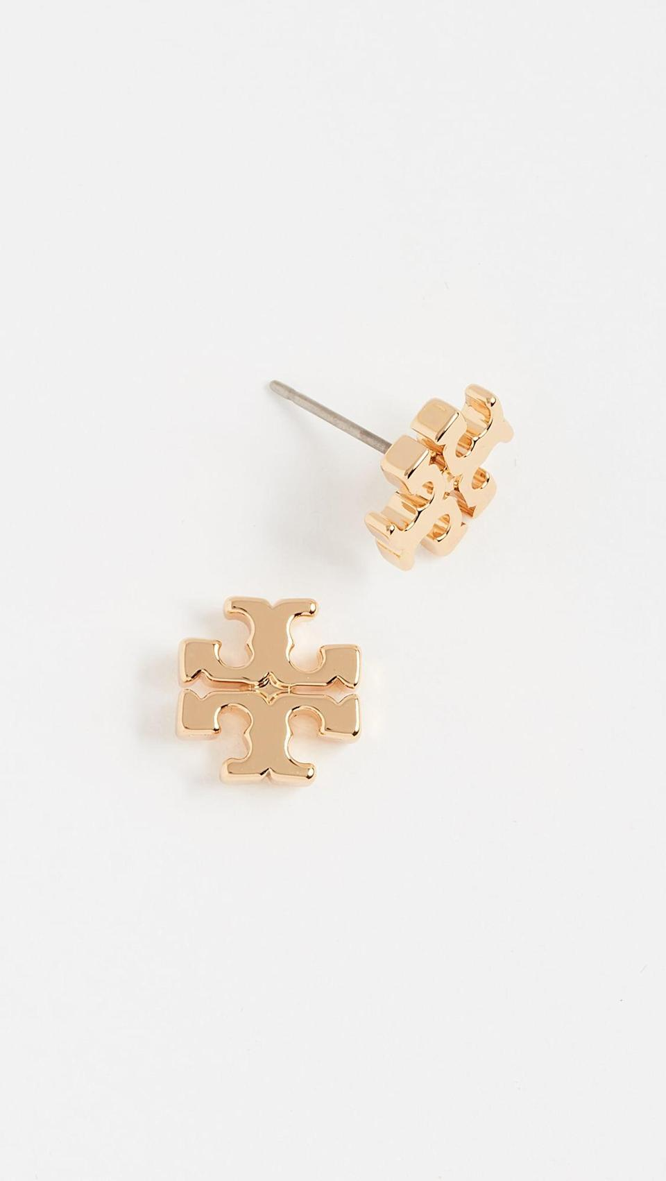 <p>Fans of Tory Burch will love these classic <span>Tory Burch Logo Stud Earrings</span> ($78). We love the sculptural look.</p>