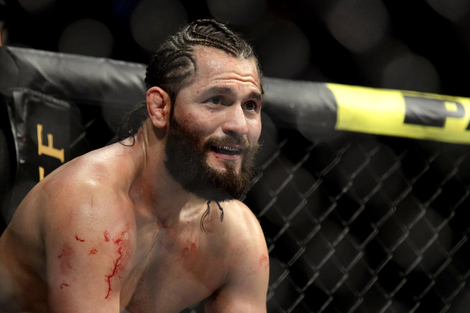 """NEW YORK, NEW YORK - NOVEMBER 02:  Jorge Masvidal of the United States fights against Nate Diaz (not pictured) of the United States in the Welterweight """"BMF"""" championship bout during UFC 244 at Madison Square Garden on November 02, 2019 in New York City. (Photo by Steven Ryan/Getty Images)"""