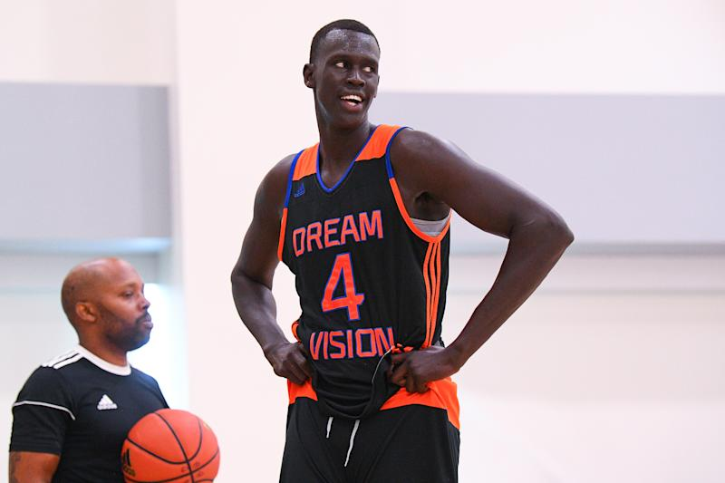 Dream Vision forward Makur Maker looks on during the adidas Gauntlet Finale on July 19, 2018 at the Ladera Sports Center in Ladera Ranch, CA. (Photo by Brian Rothmuller/Icon Sportswire via Getty Images)