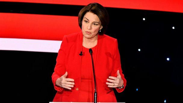 PHOTO: Sen. Amy Klobuchar speaks during the seventh Democratic primary debate of the 2020 presidential campaign season co-hosted by CNN and the Des Moines Register at the Drake University campus in Des Moines, Iowa on Jan. 14, 2020. (Robyn Beck/AFP via Getty Images)