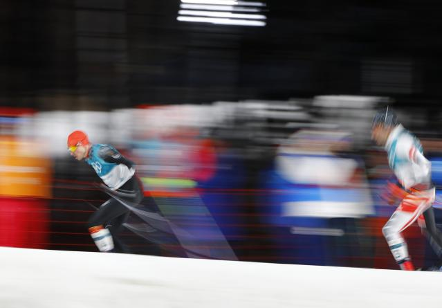 Nordic Combined Events - Pyeongchang 2018 Winter Olympics - Men's Individual 10 km Final - Alpensia Cross-Country Skiing Centre - Pyeongchang, South Korea - February 20, 2018 - Eric Frenzel of Germany and Wilhelm Denifl of Austria in action. REUTERS/Dominic Ebenbichler