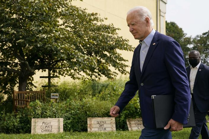 Democratic presidential candidate and former Vice President Joe Biden departs after speaking about climate change and wildfires affecting western states, Monday, Sept. 14, 2020, in Wilmington, Del. (AP Photo/Patrick Semansky)
