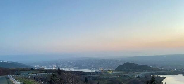 This photo, showing a blanket of haze over the St. John's, was taken from Signal Hill on Monday evening.  (Submitted by Brittany Lee - image credit)