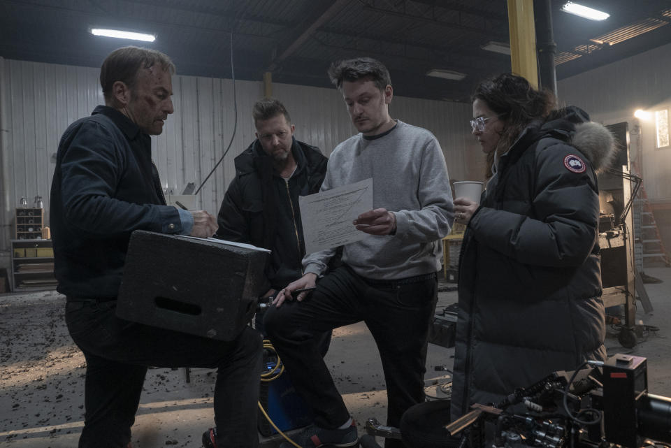 Bob Odenkirk (first from left) and director Ilya Naishuller (3rd from left) on the set of Nobody. (Photo courtesy of United International Pictures)