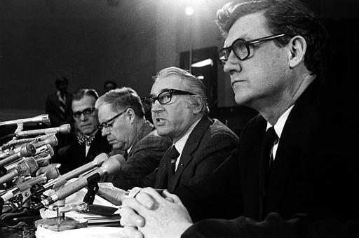 Chairman Peter Rodino, D-N.J., of the U.S. House of Representatives Judiciary Committee, answers questions during a news conference in Washington, D.C., Wednesday, March 13, 1974. The committee and their counsel met to consider a response to the White House refusal to turn over all tapes and document the panel wants to use in the investigation to impeach President Nixon. From left are, Albert Jenner, minority counsel, Rep. Edward Hutchinson, R-Mich., Rep. Rodino, and John Doar, chief counsel. (AP Photo)
