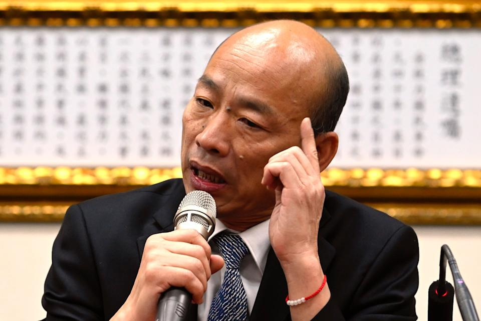 Kaohsiung Mayor Han Guo-Yu gestures during a press conference after meeting with Chairman of Taiwans main opposition Kuomintang (KMT) Wu Den-yih in Taipei in April 30, 2019. (Photo by Sam YEH / AFP)        (Photo credit should read SAM YEH/AFP/Getty Images)