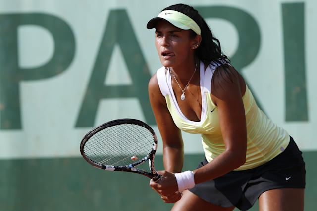 El Tabakh, seen here during her first-round loss to Aleksandra Wozniak at the 2012 French Open, won a $25K tournament in California Sunday. THOMAS COEX/AFP/GettyImages