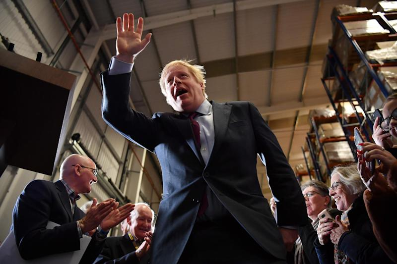 British Prime Minister and Conservative leader Boris Johnson arrives to speak at a general election campaign rally: Ben Stansall - WPA Pool/Getty Images