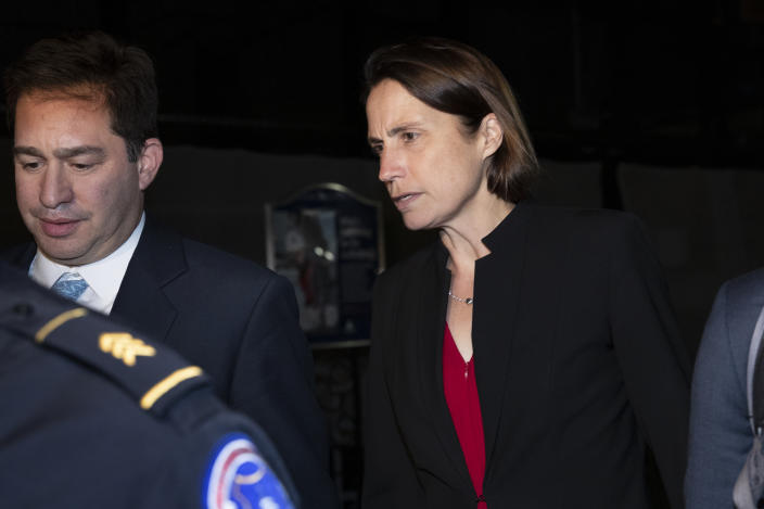 Fiona Hill, former White House adviser on Russia, leaves Capitol Hill on Monday. (Photo: Manuel Balce Ceneta/AP)