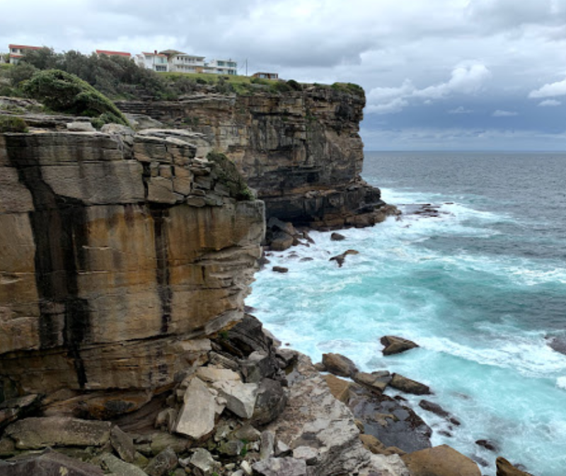 Cliff at Diamond Bay Reserve in Sydney's eastern suburb Vaucluse where British model died Sunday morning.
