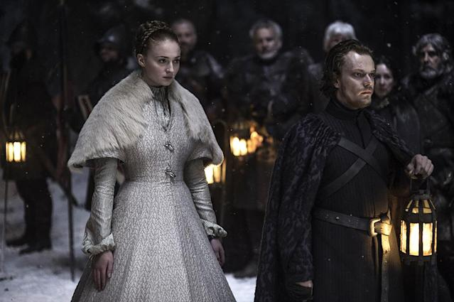 "<p>Sansa's heavy wedding dress is big on symbolism — fur to represent Starks, fish claps to represent her mother's Tully background. But off screen, the dress was mostly a pain in the neck for the crew, Clapton told <a href=""https://fashionista.com/2015/06/game-of-thrones-season-5-costume-designer-interview"" rel=""nofollow noopener"" target=""_blank"" data-ylk=""slk:Fashionista"" class=""link rapid-noclick-resp"">Fashionista</a>. ""The funniest thing was on the day of the rehearsal, they had set up this snowy path. [Sansa] walked up the path in the dress and it was like a snow plow. It cleared the whole path because it was so big and heavy,"" Clapton said. ""They had to reset the snow every take.""<br><br>(Photo Credit: HBO) </p>"