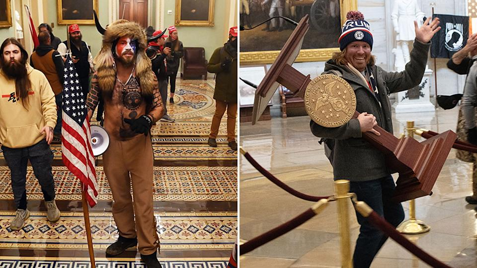 Several US media outlets have identified Jake Angeli, left and Adam Christian Johnson as participants in the Capitol riot. Source: Getty Images