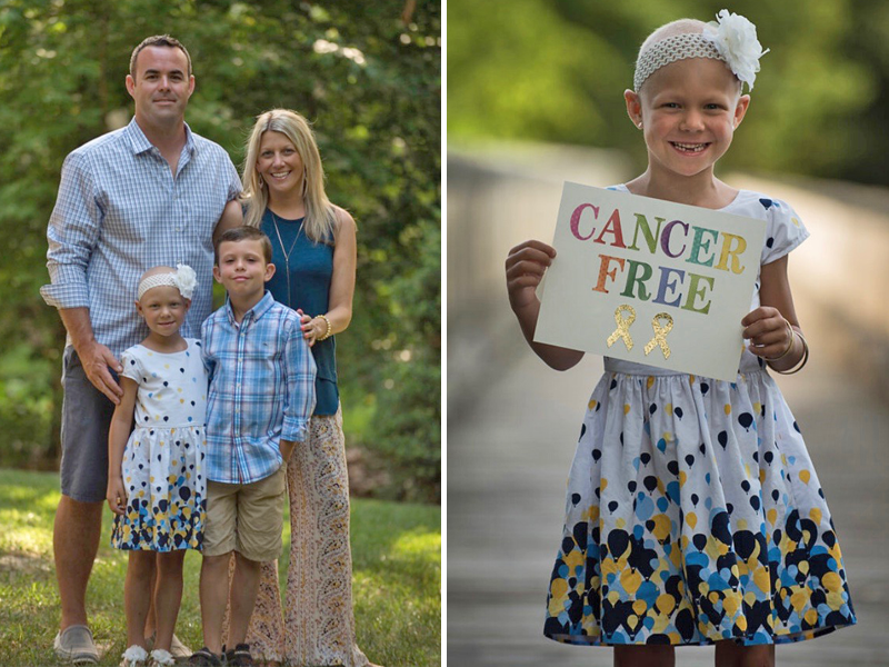 """Left: Tray Sullivan with her husband, son and daughter, Arden MacPhee; Arden holding a """"Cancer Free"""" sign (right). (Photo courtesy of Tray Sullivan)"""