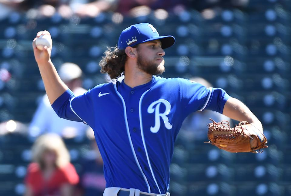 GOODYEAR, ARIZONA - MARCH 01: Jackson Kowar #37 of the Kansas City Royals delivers a first inning pitch against the Cleveland Indians during a spring training game at Goodyear Ballpark on March 01, 2021 in Goodyear, Arizona. (Photo by Norm Hall/Getty Images)