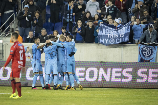 NYCFC celebrates a goal at Red Bull Arena, where they played the second leg of their CONCACAF round of 16 match on Wednesday. (Photo by Ira L. Black/Corbis via Getty Images)