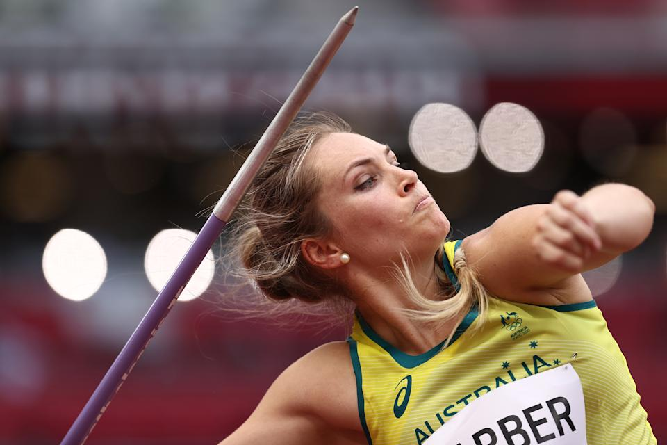 Pictured here, Australia's Kelsey-Lee Barber competes in the javelin qualification round at the Olympics.