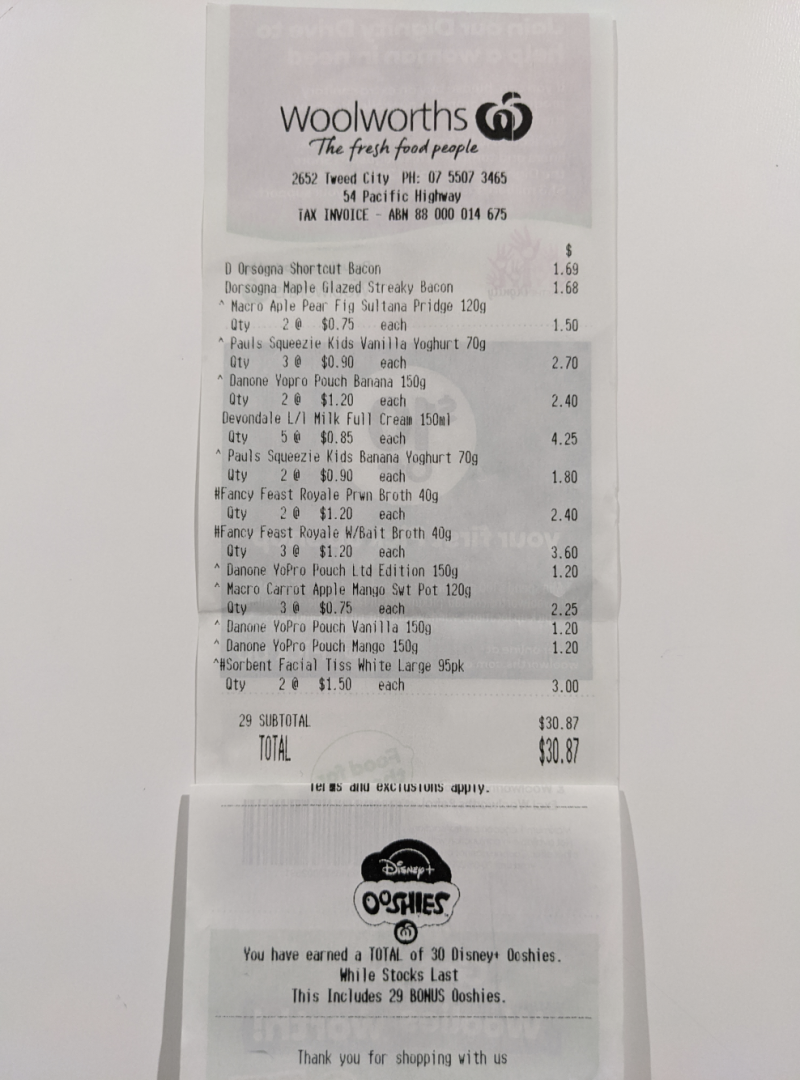 Photo shows a receipt from a woman's Woolworths shop that earned 30 Ooshies.