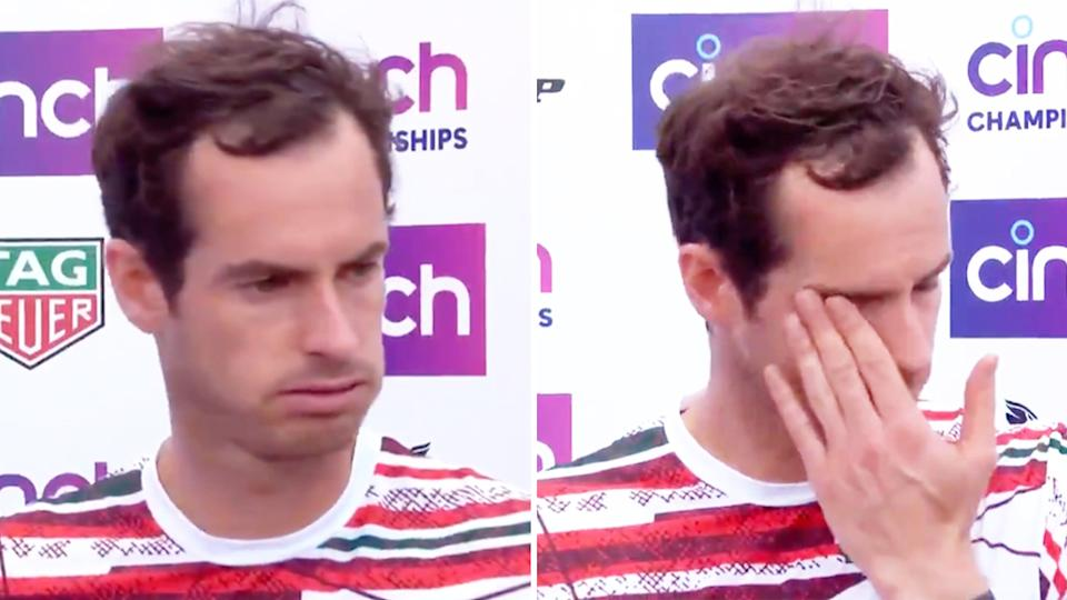 Andy Murray (pictured right) wiping away tears after breaking down in a press conference at Queen's.