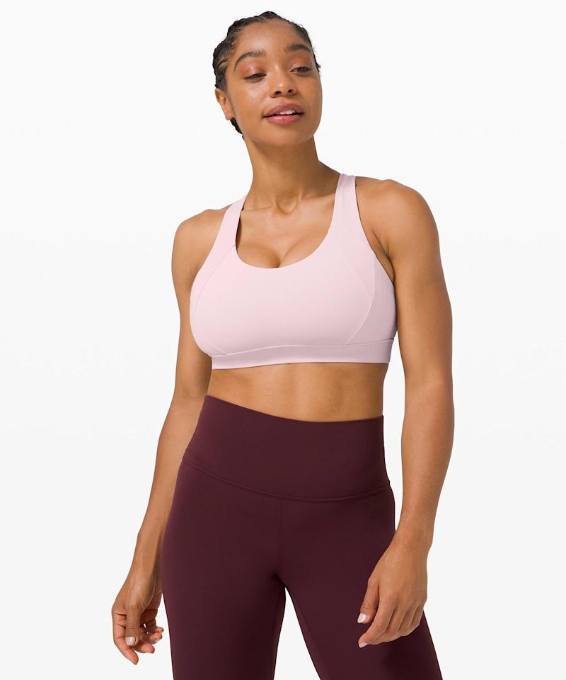 """<p>The <product href=""""https://shop.lululemon.com/p/women-sports-bras/Free-to-Be-Elevated-Bra/_/prod9820299?color=31882"""" target=""""_blank"""" class=""""ga-track"""" data-ga-category=""""Related"""" data-ga-label=""""https://shop.lululemon.com/p/women-sports-bras/Free-to-Be-Elevated-Bra/_/prod9820299?color=31882"""" data-ga-action=""""In-Line Links"""">Lululemon Free to Be Elevated Bra</product> ($52) is a game-changer if you have a larger chest. It's a supportive, easy to move in bra that keeps you feeling secure but isn't a high-impact bra. If you're doing yoga or pilates, this is, hands down, the bra for you. I love it so much.</p>"""
