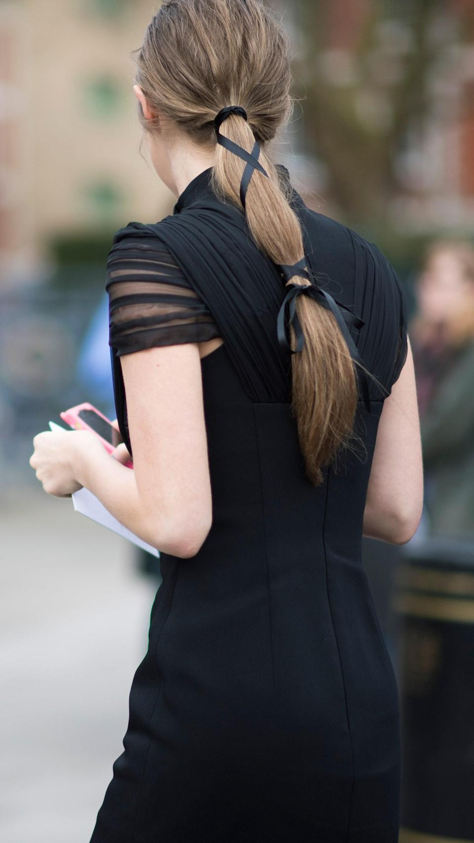 Just like a Brontë novel, criss-crossed black ribbons are super romantic and a little bit goth.
