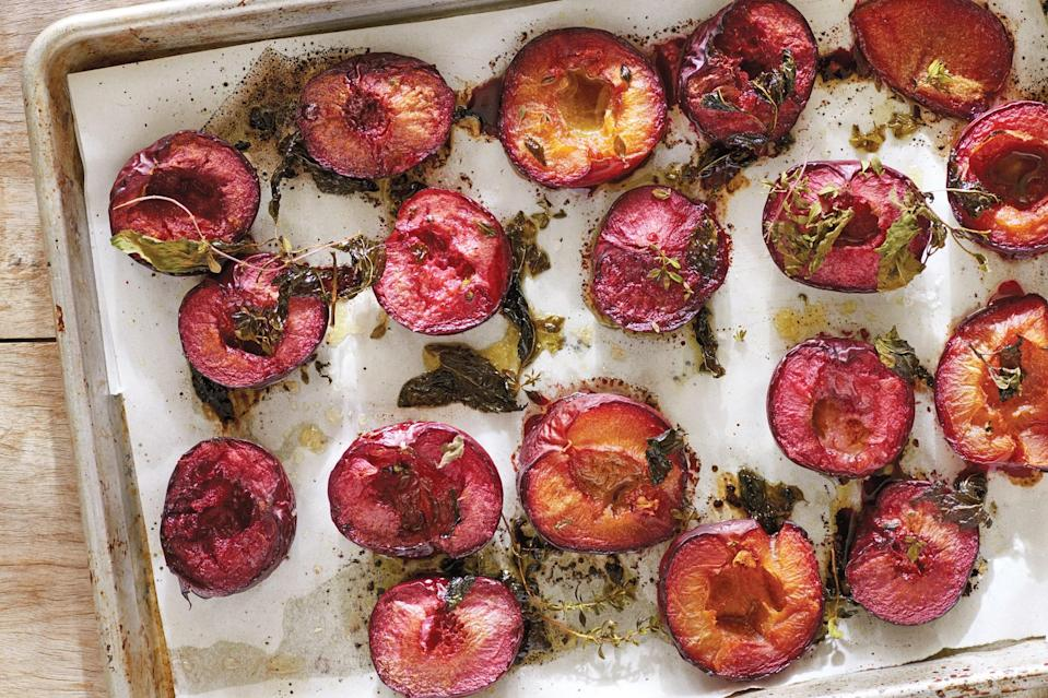 "Plum season's not quite over yet. Treat them right with this incredibly creamy tahini and lemon dressing. <a href=""https://www.epicurious.com/recipes/food/views/roasted-plums-with-tahini-dressing?mbid=synd_yahoo_rss"" rel=""nofollow noopener"" target=""_blank"" data-ylk=""slk:See recipe."" class=""link rapid-noclick-resp"">See recipe.</a>"