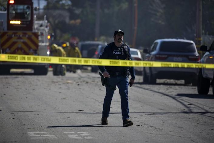 Ontario, CA - March 16: Debris is scattered after a massive blast caused by exploding fireworks on 1700 block of Fern Avenue on Tuesday, March 16, 2021 in Ontario, CA.(Irfan Khan / Los Angeles Times)