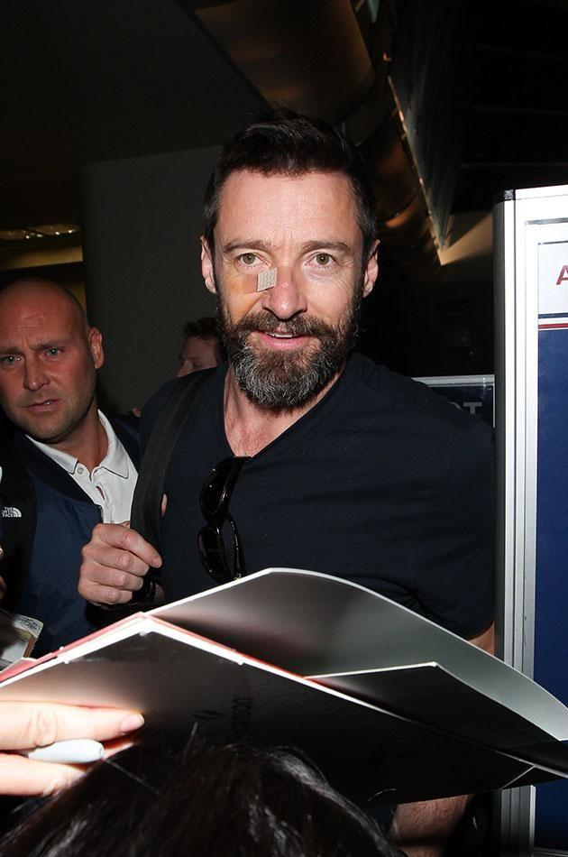 Hugh first discovered the basal cell carcinoma in 2013. Pictured here in 2014. Source: Getty