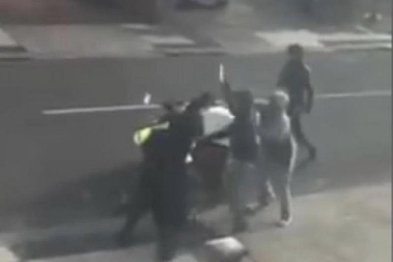 Terrifying moment: CCTV shows a gang threaten a pizza delivery driver with knives (Facebook/The UK Motorcycle Theft Protest Community)