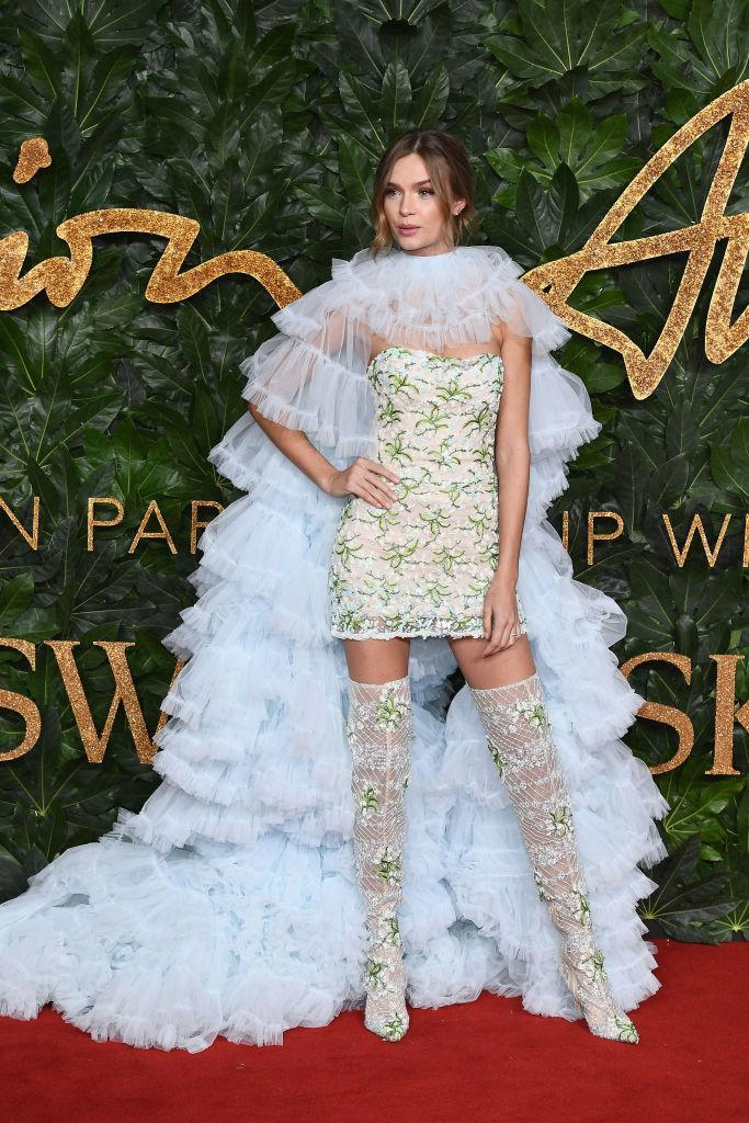 <p>Victoria's Secret model Josephine Skriver brought Shakespeare-inspired ruffles to the star-studded ceremony finished with thigh-high boots. <em>[Photo: Getty]</em> </p>