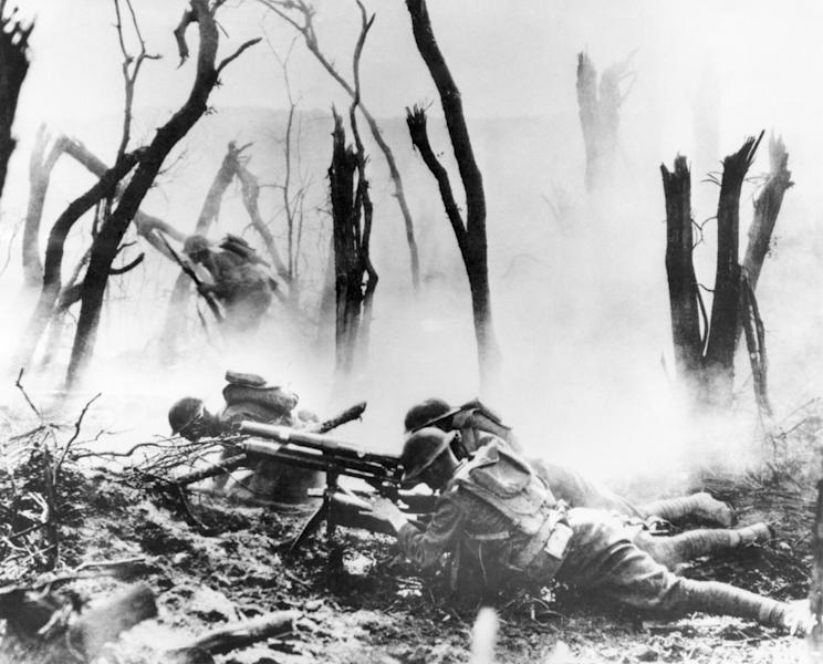FILE - In this Sept. 26, 1918 file photo, a U.S .Army 37-mm gun crew man their position during the World War One Meuse-Argonne Allied offensive in France. It was America's largest and deadliest battle ever, with 26,000 U.S. soldiers killed and tens of thousands wounded. A hundred years ago, the Meuse-Argonne offensive contributed to bring an end to of World War One. (AP Photo, File)