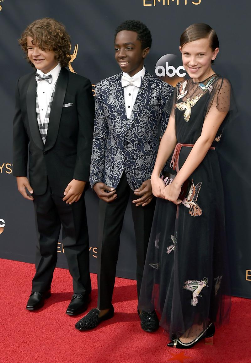 LOS ANGELES, CA - SEPTEMBER 18: (L-R) Actors Gaten Matarazzo, Caleb McLaughlin, and Millie Bobby Brown attend the 68th Annual Primetime Emmy Awards at Microsoft Theater on September 18, 2016 in Los Angeles, California. (Photo by David Crotty/Patrick McMullan via Getty Images)