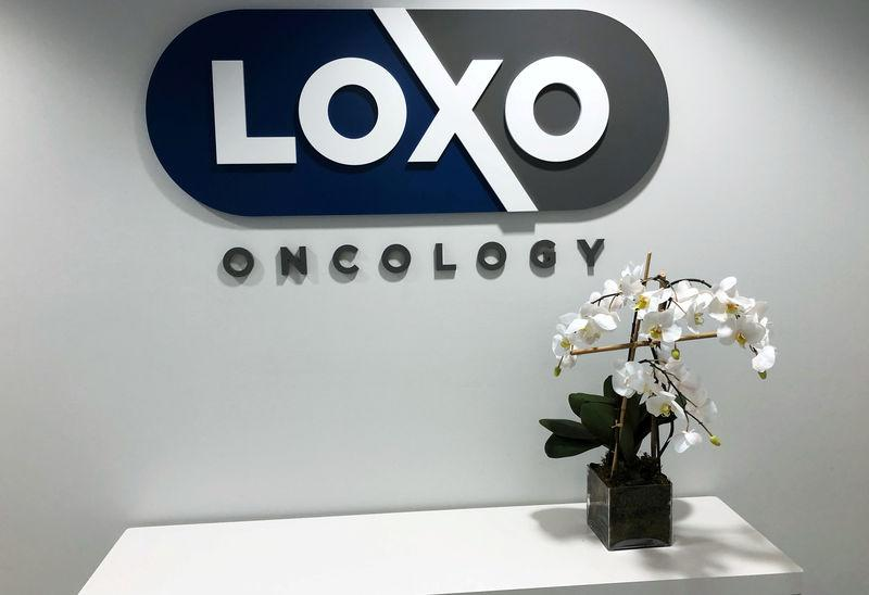 FILE PHOTO: Orchid stands on a table at the entrance to Loxo Oncology headquarters in Stamford