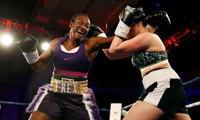 "<span class=""element-image__caption"">Claressa Shields will look to win a world title in a second weight division on 22 June in Detroit.</span> <span class=""element-image__credit"">Photograph: Gregory Shamus/Getty Images</span>"