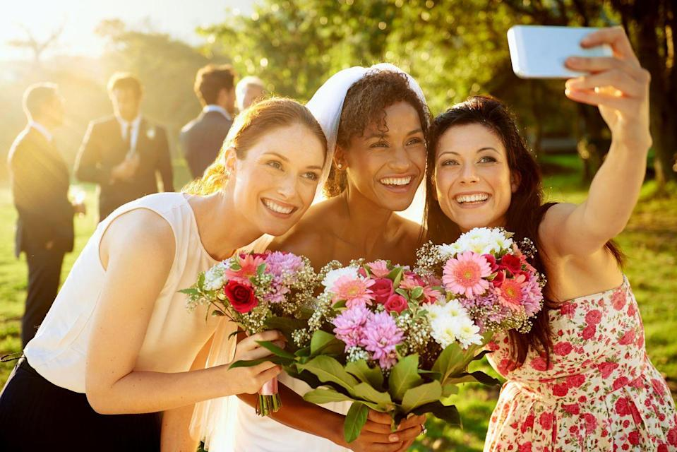 "<p>A lot of time, energy and money goes into hiring the perfect wedding photographer, and <a href=""https://www.goodhousekeeping.com/life/g19504286/wedding-etiquette-rules/?slide=10"" rel=""nofollow noopener"" target=""_blank"" data-ylk=""slk:your selfie in the background"" class=""link rapid-noclick-resp"">your selfie in the background</a> is not welcomed. If you do have your phone out at the ceremony, Kimberly N. Rhode, owner of <a href=""https://hitched-events.com/"" rel=""nofollow noopener"" target=""_blank"" data-ylk=""slk:Hitched Events"" class=""link rapid-noclick-resp"">Hitched Events</a>, says to ""save selfies for the dance party and leave the important pictures to the pros.""</p>"