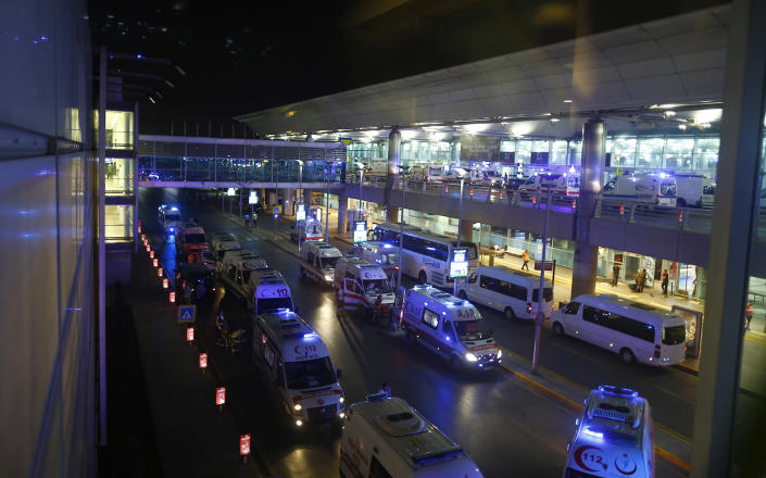 <p>Ambulance cars arrive at Turkey's largest airport, Istanbul Ataturk, Turkey, following a blast June 28, 2016. (REUTERS/Osman Orsal) </p>