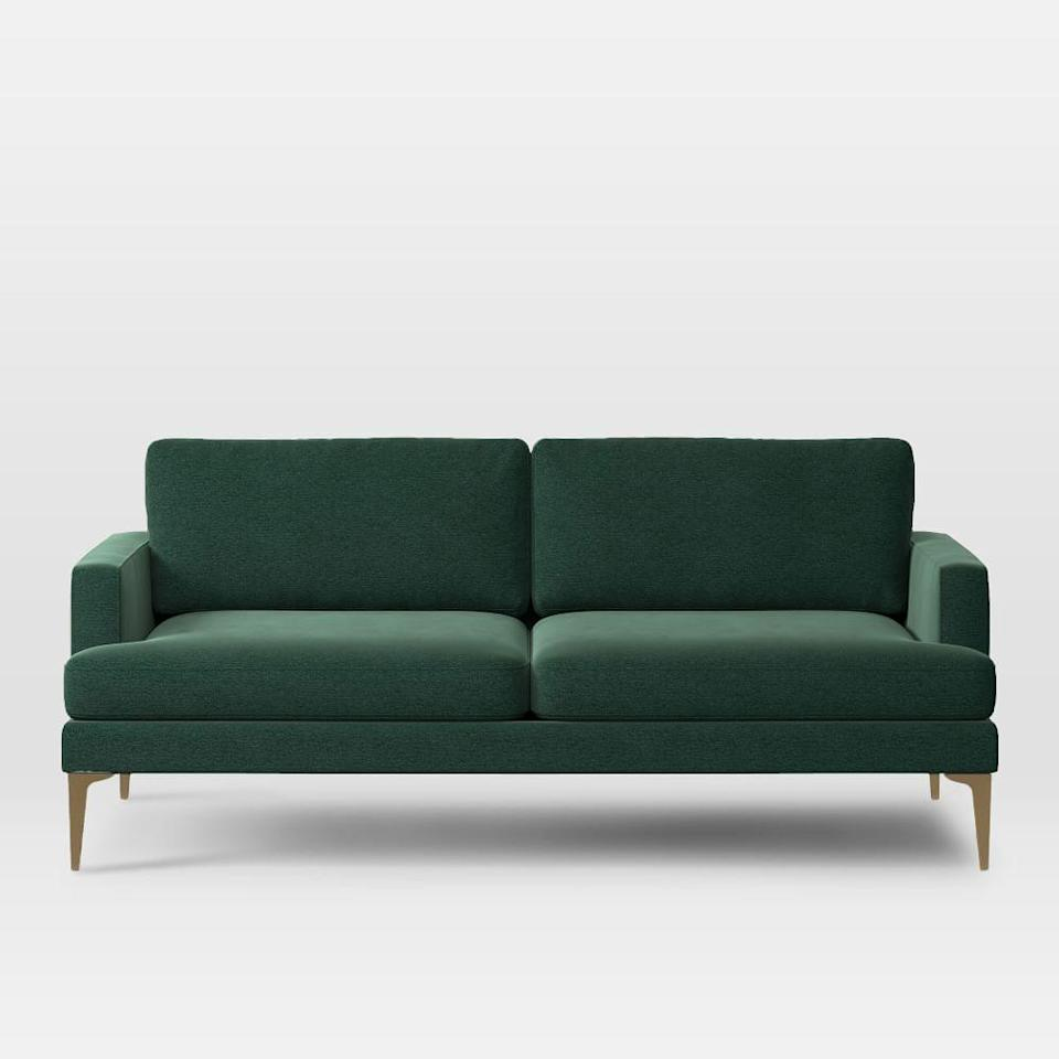 "<h2>West Elm Andes Sofa</h2><br>""I never thought I could love a couch as much as I love my Andes Sofa in distressed forest green velvet, but after a year of spending 95% of my time on this couch, I couldn't be more in love. It's such a good size for my small (but not tiny) apartment and is also comfortable enough for naps or (vaccinated) visitors."" — <em>HR</em><br><br><strong>West Elm</strong> Andes Sofa, $, available at <a href=""https://go.skimresources.com/?id=30283X879131&url=https%3A%2F%2Fwww.westelm.com%2Fproducts%2Fandes-sofa-h1844%2F"" rel=""nofollow noopener"" target=""_blank"" data-ylk=""slk:West Elm"" class=""link rapid-noclick-resp"">West Elm</a>"