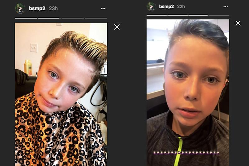 Bristol Palin's 9-year-old son Tripp has a fresh blue hairdo.(Photo: Instagram/bsmp2)