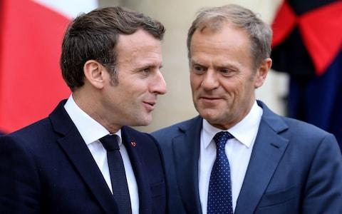 French President Emmanuel Macron (L) stands with European Council President Donald Tusk at the Elysée on Monday 20 May, 2019 - Credit: LUDOVIC MARIN/AFP