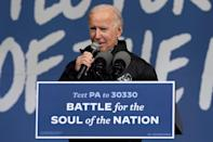 Joe Biden speaks on Sunday in Pennsylvania, a state that will be crucial for the two candidates