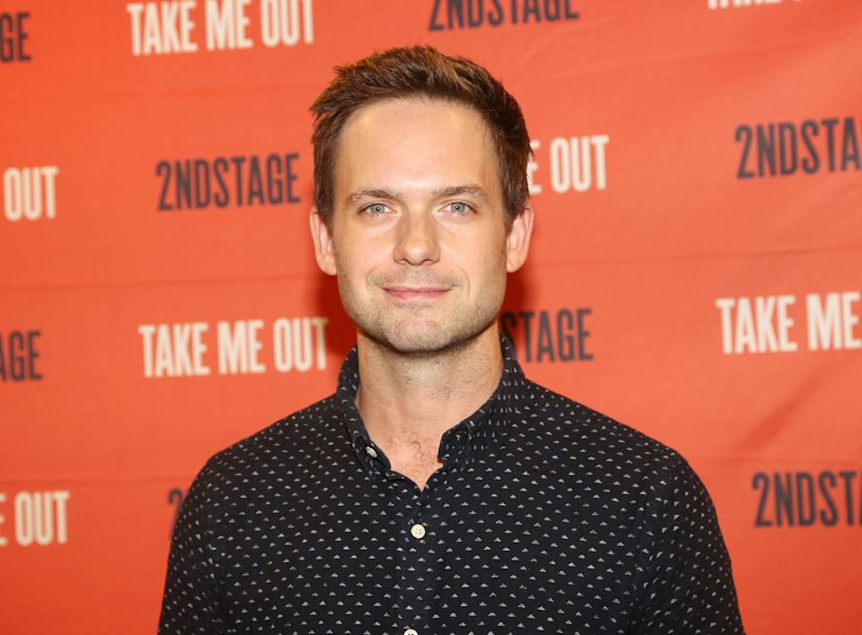 NEW YORK, NEW YORK - MARCH 11:  Patrick J. Adams poses at a photo call for the Second Stage play