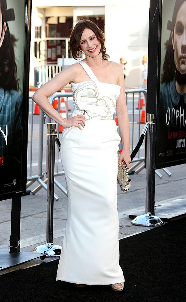 "Vera Farmiga popped a pose at the ""Orphan"" premiere in a silk one-shoulder Versace gown. She completed her look with a classy updo, a metallic clutch, and leather sandals. Frazer Harrison/<a href=""http://www.gettyimages.com/"" target=""new"">GettyImages.com</a> - July 21, 2009"