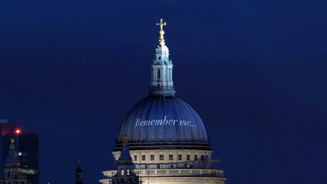 The cathedral's famous dome virtually enhanced with writing that reads 'Remember me', as the online memorial is launched. (St Paul's Cathedral/PA)
