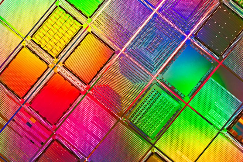 Multi Colored Computer Silicon Wafer Extreme Close-up Shot. Photo: Getty