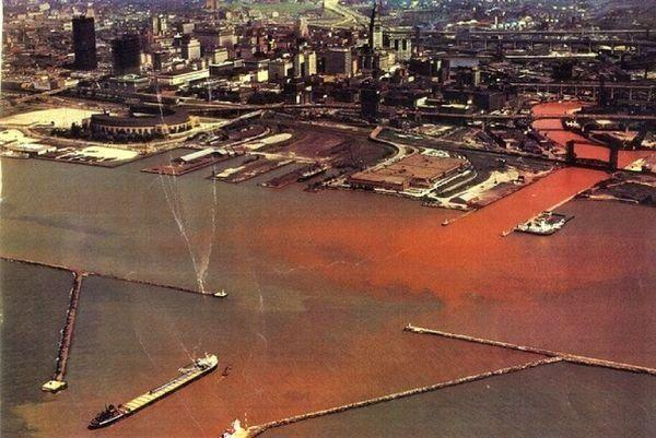 Plumes of industrial waste emptying into Lake Erie