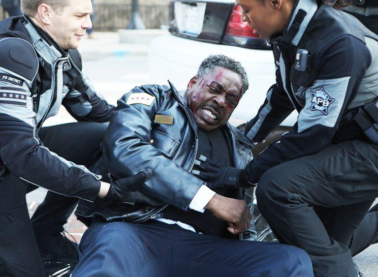"Taylor Handley, Ernie Hudson and Tamberla Perry in the all-new ""Ricochet"" season finale episode of APB. (Photo: FOX)"