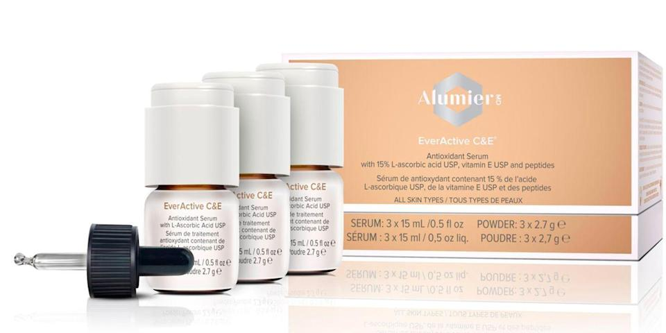 "<p>""AlumierMD EverActive C&E, is a high strength Vitamin C (15%) and E Serum. This is a highly potent antioxidant serum that works to reduce the appearance of fine lines and wrinkles revealing revitalised skin. It contains the highest grade of Vitamin C available, and the antioxidants neutralise free radicals and protect against UV damage, whilst also strengthening and brightening the skin."" Explains <a href=""https://www.drpambenito.com/"" rel=""nofollow noopener"" target=""_blank"" data-ylk=""slk:Dr Pamela Benito"" class=""link rapid-noclick-resp"">Dr Pamela Benito</a>.</p><p>""Many Vitamin C serums oxidize in their bottles, turning into a brownish colour when they are on the shelf or at home. When oxidized, the Vitamin C is no longer beneficial for the skin. EverActive C&E stays fresh and active because you only mix the Vitamin C into the serum when you are ready to use it.""</p><p>(Only available through a professional dermatologist)</p><p><a class=""link rapid-noclick-resp"" href=""https://www.alumiermd.co.uk/product/51402"" rel=""nofollow noopener"" target=""_blank"" data-ylk=""slk:Where to buy"">Where to buy</a></p>"