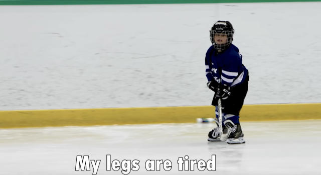Mason Rupke, a four-year-old hockey player that was wearing a microphone during an on-ice practice, went viral late last week after a video of his escapades and commentary got plenty of attention online. Photo from Coach Jeremy/YouTube.